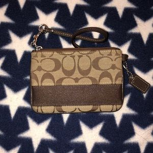 Brown and Tan Coach Wristlet